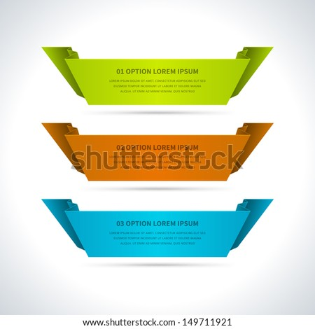 Infographics options design elements. Vector illustration. Paper and banner numbers website eps 10.  - stock vector