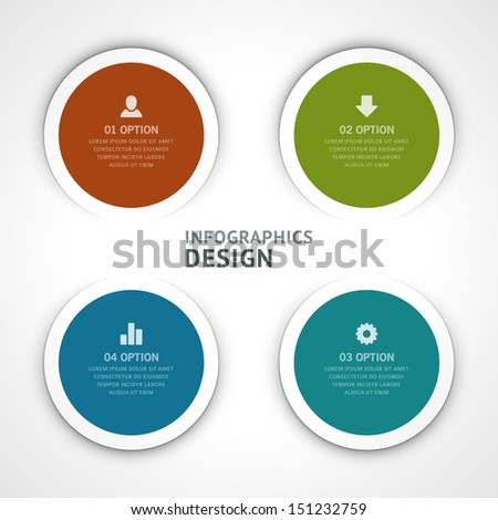 Infographics options design elements. Vector illustration. Round banner numbers and icons website eps 10.  - stock vector