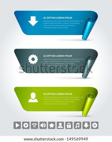 Infographics options design elements. Vector illustration. Scroll paper and banner numbers and icons website eps 10.  - stock vector