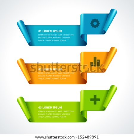 Infographics options design elements. Vector illustration. Scroll paper banner or header numbers website eps 10.  - stock vector