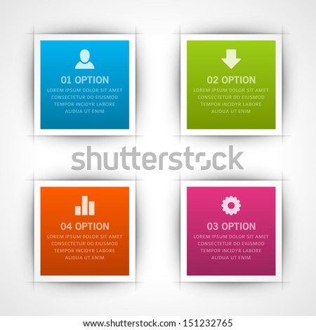 Infographics options design elements. Vector illustration. Square banner numbers and icons website eps 10.  - stock vector
