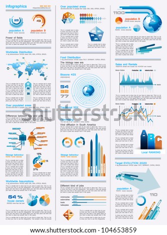infographics page with a lot of design elements like chart, globe, icons, graphics, maps, cakes, human shapes and so on. Ideal for business analisys rapresentation. - stock vector