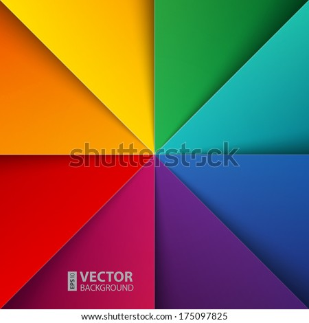 infographics rainbow colorful folded paper triangles background. RGB EPS 10 vector illustration - stock vector