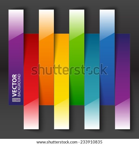 Infographics rainbow paper stripe shiny banners with shadows on dark grey background. RGB EPS 10 vector illustration - stock vector