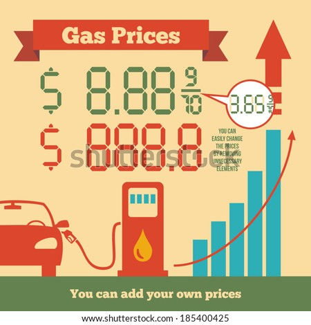 Infographics rising gas prices where you can add your own fuel prices - stock vector