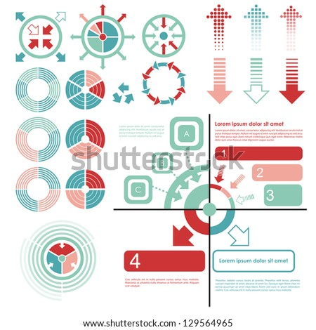 Infographics set and Information. Graphics vector. Pie charts and arrows - stock vector