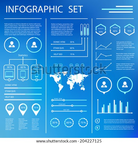 Infographics Set Elements. Diagrams, Maps, Arrows,  Flat Blue Color Design Style. Vector Illustration - stock vector
