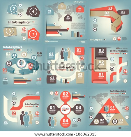 Infographics set of nine pieces on business blue - stock vector