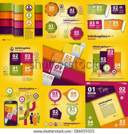 Infographics set of nine pieces on business yellow - stock vector