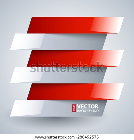 Infographics shiny white and red metallic rectangle banners with shadows on white background. RGB EPS 10 vector illustration - stock vector