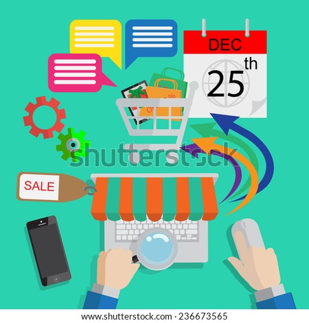 infographics Shopping online with finger ,only click for your holiday on 25 December. - stock vector