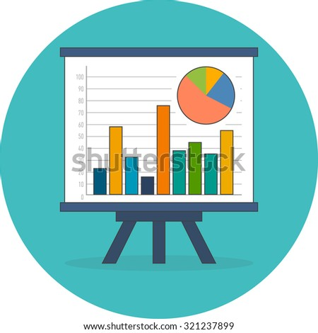Infographics, statistics, data concept. Flat design. Icon in turquoise circle on white background - stock vector