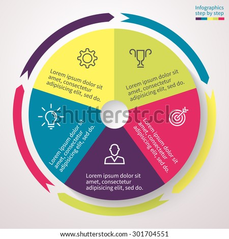 Infographics step by step. Abstract business concept pie chart with 5 steps, options, parts, processes. Vector template for presentation and training. - stock vector