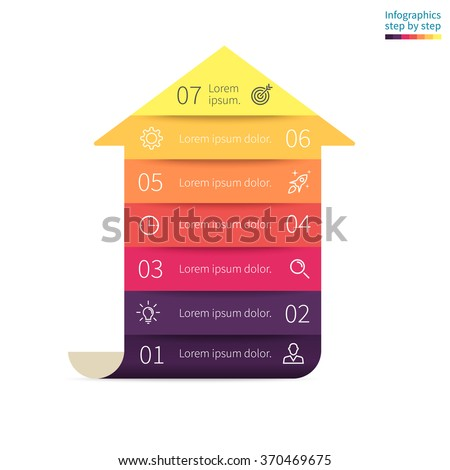 Infographics step by step in the form of arrow with colored sections. Business chart, graph, diagram with 7 steps, options, parts, processes. Vector template for presentation. - stock vector