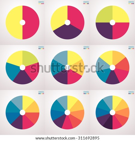 Infographics step by step. Pie charts with a hole in the center. Set of flat pie charts with 2, 3, 4, 5, 6, 7, 8, 9, 10 steps, options, parts, processes. Vector business templates for presentation. - stock vector