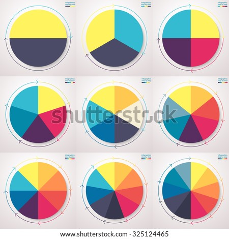 Infographics step by step. Pie charts with thin line arrows. Set of flat pie charts with 2, 3, 4, 5, 6, 7, 8, 9, 10 steps, options, parts, processes. Vector business templates for presentation. - stock vector
