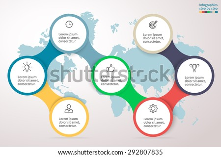 Infographics step by step. Universal abstract element of chart, graph, diagram with 7 steps, options, parts, processes connected via bone. Vector business template for presentation and training. - stock vector