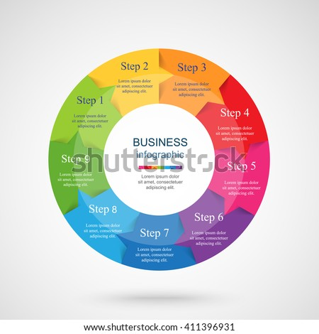 Pie Chart Nine Steps Processes Stock Vector   Shutterstock