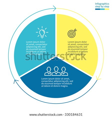 Infographics step by step with colored sections. Flat pie chart with 3 steps, options, parts, processes with arrows. Vector business template in blue and yellow for presentation and training. - stock vector