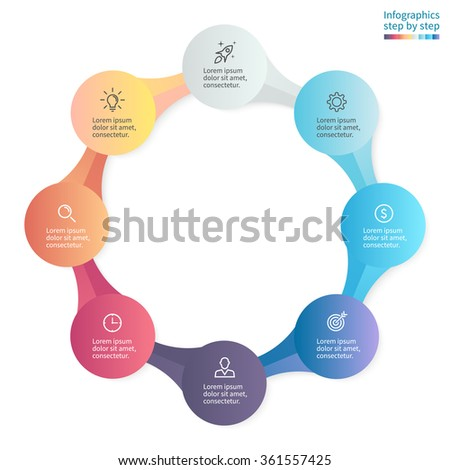 Infographics step by step with 8 connected elements. Diagram, chart, graph with 8 steps, options, parts, processes. - stock vector