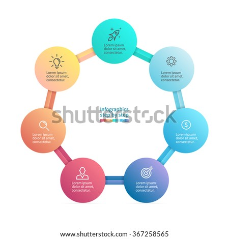Infographics step by step with polygonal structure. Heptagon chart, diagram with 7 steps, options, parts, processes. Vector business template. - stock vector