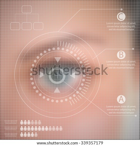 Infographics technology  Human eye blurred effect with virtual screen eps 10 vector - stock vector