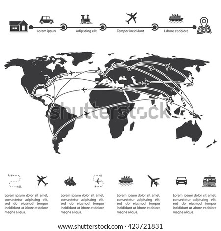 Infographics template and world map.  Vector illustration. Details of the travel indicating routes on the world map of the earth. The visual data processing. - stock vector