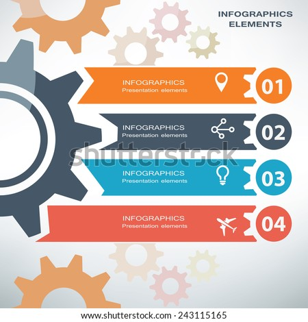 infographics template, gear and process concept - stock vector