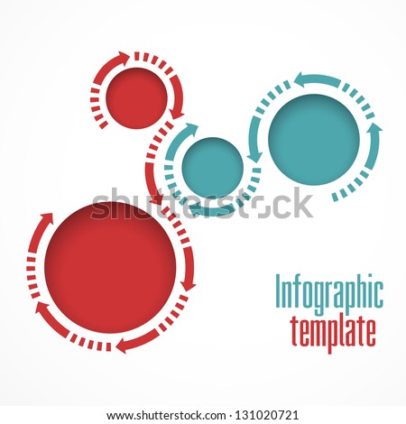 Infographics template. Graphics vector. Round islets for text and arrows - stock vector