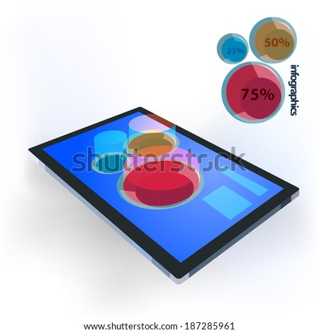 Infographics template with a 3d bar graph on the touchscreen of a tablet pc. Vector illustration - stock vector