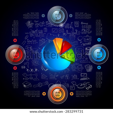Infographics template with 4 choices and a 3d Graph in the center. Every choice has its own glossy button. Background is made with hand drawn sketches! - stock vector