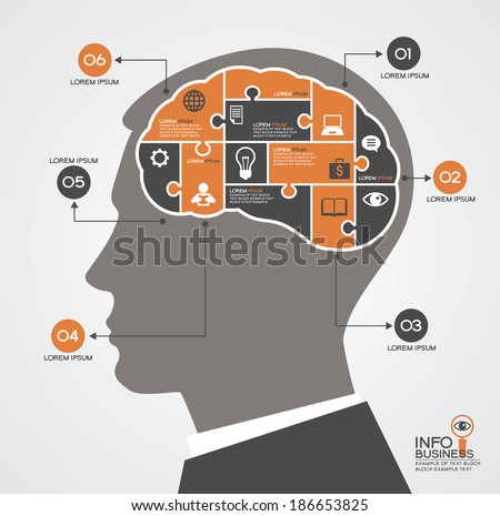 Infographics template with head, brain puzzle and business icons. Concept modern business  - stock vector