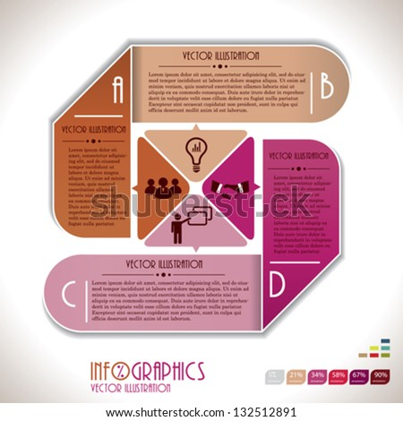 Infographics template with letters. Vector illustration - stock vector