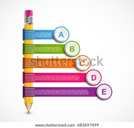Infographics template with pencil. Infographics for business presentations or information banner.