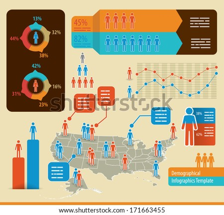 Infographics template with people icons and a map of the united states of america - stock vector