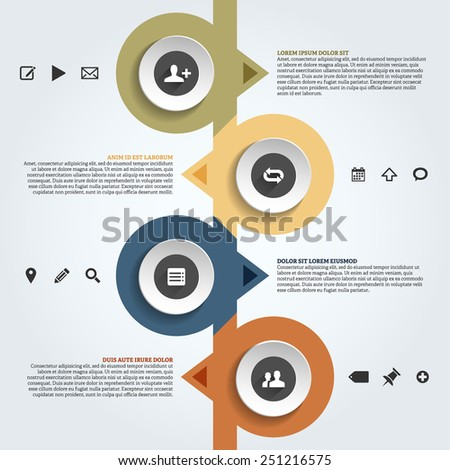 Infographics template with place for your text and icons. Vector illustration. - stock vector
