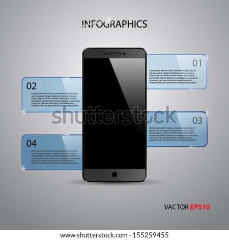 Infographics template with realistic smartphone.