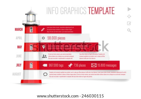Infographics template with red-white lighthouse, icons and sample text - isolated on white background. Vector illustration. - stock vector