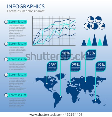 Infographics template with world map. Graphic information and infographic design elements. Vector illustration. - stock vector