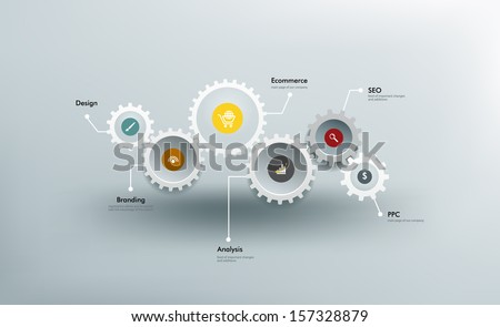 Infographics. The gears communicate with one another. - stock vector
