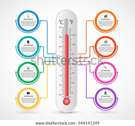 Infographics thermometer design template. Vector illustration.