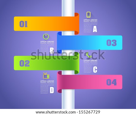 Infographics Vector Background Number Options Banner & Card  - stock vector