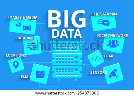 Infographics vector illustration of Big data system. - stock vector