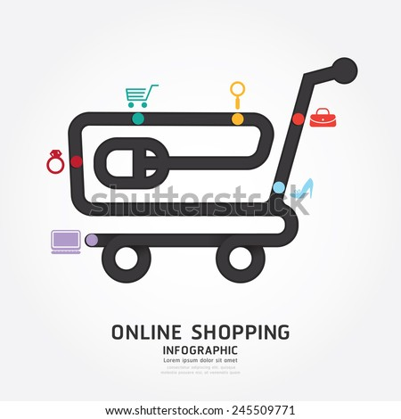 infographics vector online shopping design diagram line style template - stock vector