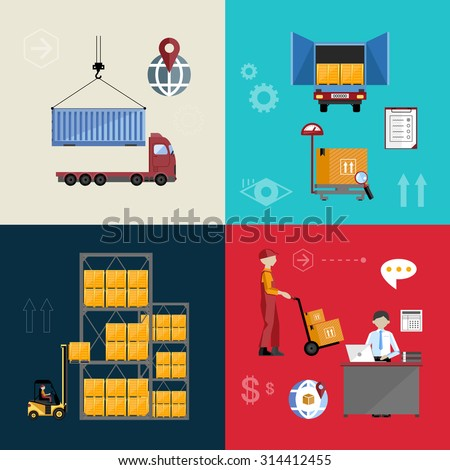 Infographics warehousing, logistics and business processes. The process of shipping and cargo management. Vector illustration of flat. - stock vector