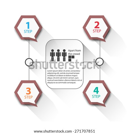 Infographics with banners with stickers for your text. Network Solution - stock vector