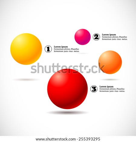 Infographics with group of flying numbered colorful balls - stock vector