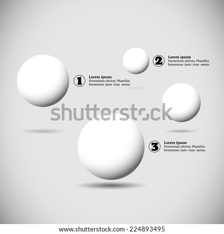 Infographics with group of flying numbered white balls - stock vector