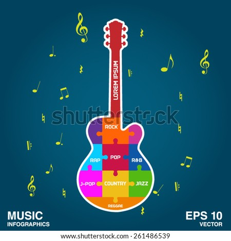 infographics with guitar models. - stock vector