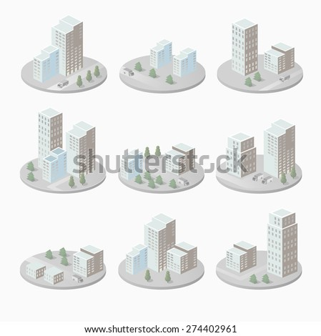 Infographics with isometric houses and urban landscape - stock vector